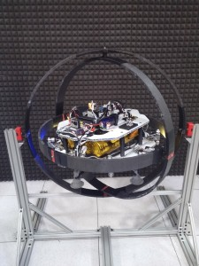 The Asteroid Prospector Flyer prototype in a testing gimbal. Image Credit: NASA/Swamp Works
