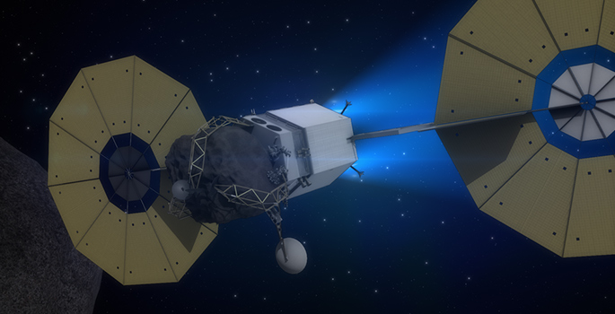 Concept of an asteroid redirect mission. Image Credit: NASA