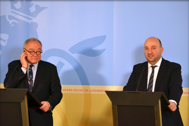 Press conference by Étienne Schneider and Jean-Jacques Dordain. Image Credit: MECO