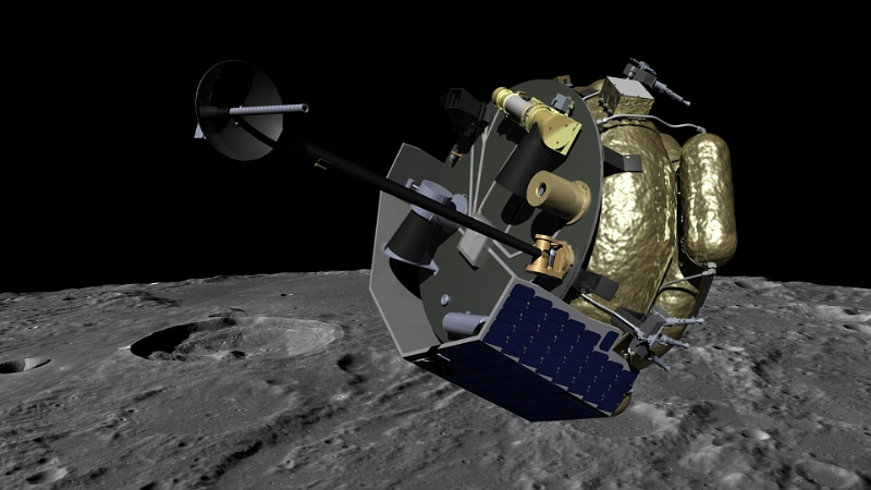 Moon Express MX-1 spacecraft orbits the Moon in preparation for landing. MX-1 will deliver commercial, academic and government instruments to explore the Moon for science and resources. Image Credit: PRNewsFoto/Moon Express, Inc.