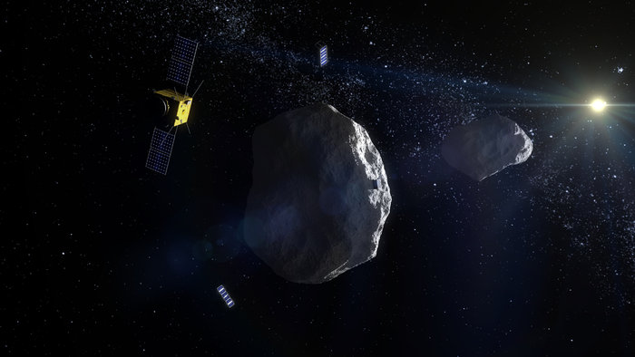 ESA's proposed Asteroid Impact Mission to the Didymos binary asteroid system will carry two 'CubeSat Opportunity Payloads (COPINS)' to support the science goals of the main spacecraft plus its lander, as well demonstrate deep space inter-satellite link techniques. Image Credit: ESA
