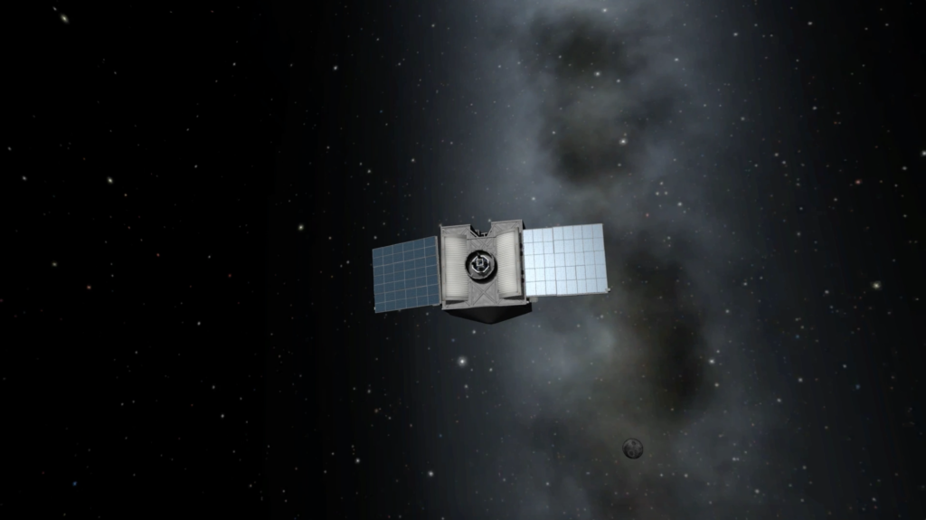 A Kerbal version of the OSIRIS-REx spacecraft. Image Credit: NASA/Jason Dworkin/Kerbal Space Program