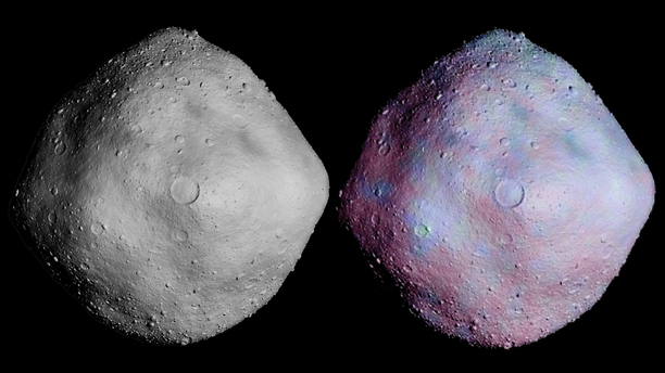 Simulated cratering and topography are overlaid on radar imagery of asteroid 1999 RQ36. Image: Credit: NASA/GSFC/UA/Mike Nolan-Arecibo Observatory/Bob Gaskell-Planetary Science Institute