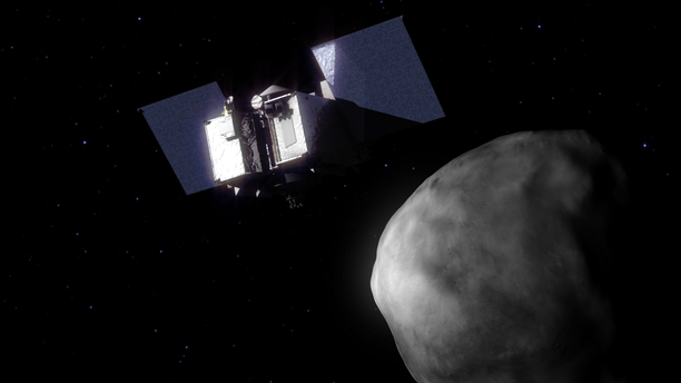 NASA's OSIRIS-REx spacecraft will rendezvous with Bennu and obtain a sample that will be returned to Earth in 2023. Image Credit: NASA's Goddard Space Flight Center Conceptual Image Lab