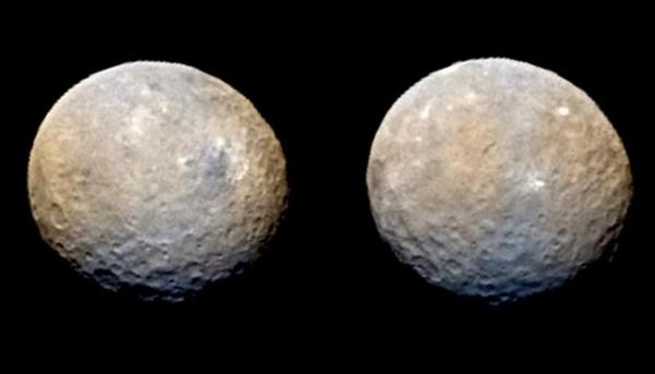 Images of Ceres made using combined Dawn and 2005 HST ultraviolet-visible wavelength images. Image Credit: NASA/JPL-Caltech/UCLA/MPS/DLR/IDA/Philip Stooke/Ian Regan