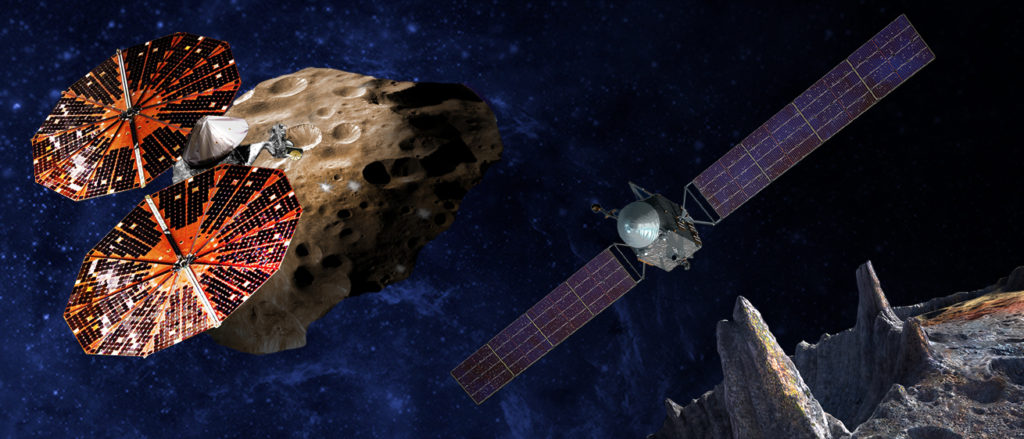 (Left) An artist's conception of the Lucy spacecraft flying by the Trojan Eurybates – one of the six diverse and scientifically important Trojans to be studied. Trojans are fossils of planet formation and so will supply important clues to the earliest history of the solar system. (Right) Psyche, the first mission to the metal world 16 Psyche will map features, structure, composition, and magnetic field, and examine a landscape unlike anything explored before. Psyche will teach us about the hidden cores of the Earth, Mars, Mercury and Venus. Image Credit: SwRI and SSL/Peter Rubin